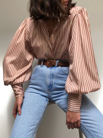 Vintage Stunning Striped Balloon Sleeve Blouse