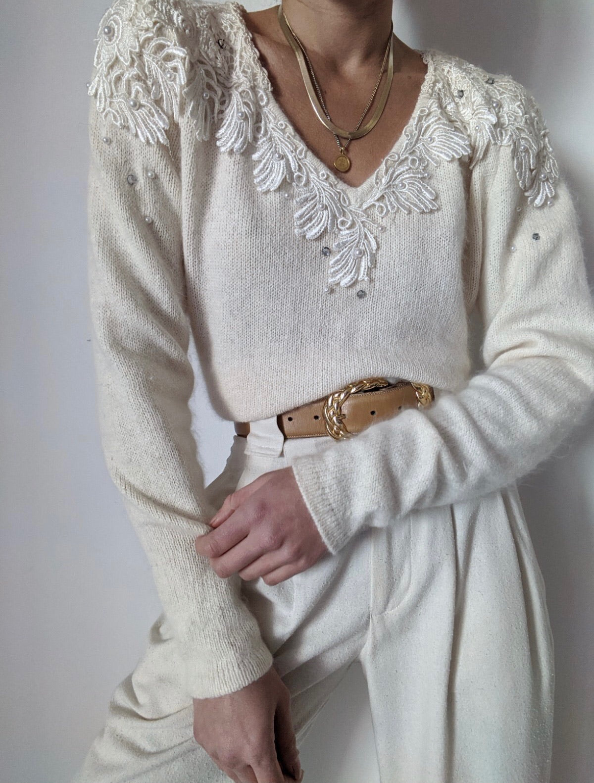 Vintage Angora & Silk Embroidered Sweater