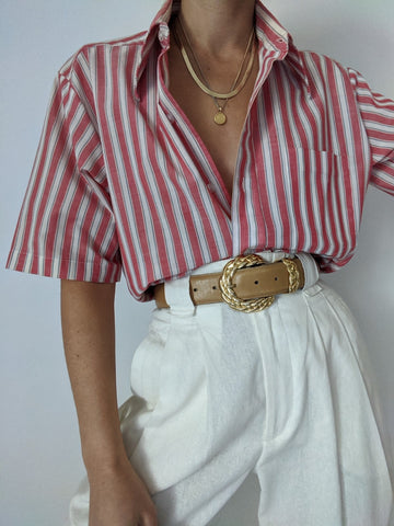 Vintage Faded Striped Button Up