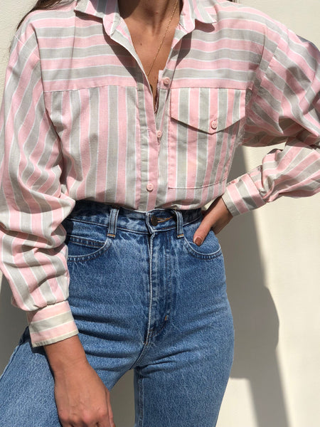 Vintage Blush And Sand Striped Button Up