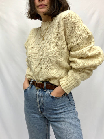 Vintage Cream Wool Patterned Sweater