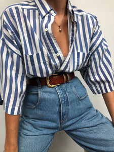 Vintage Navy Striped Short Sleeve Button Up