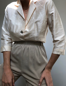 Vintage Champagne Silk Button Up Blouse