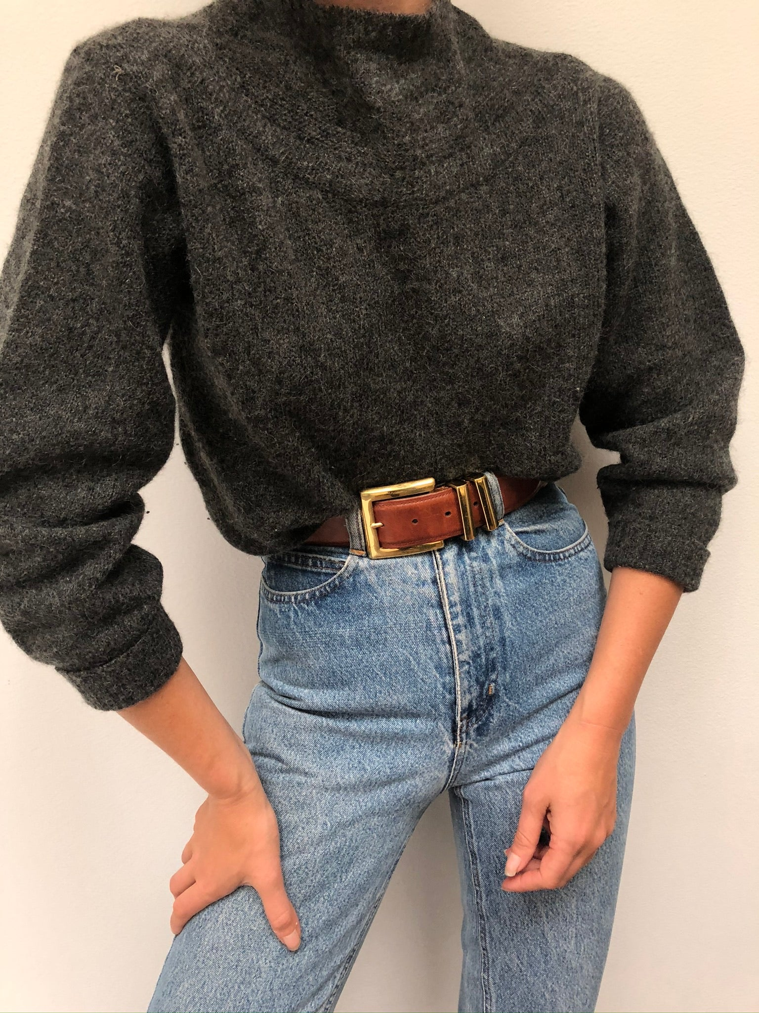 Vintage Charcoal Mohair Mock Neck
