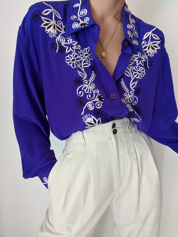 Vintage Diane Von Furstenberg Embroidered Silk Blouse