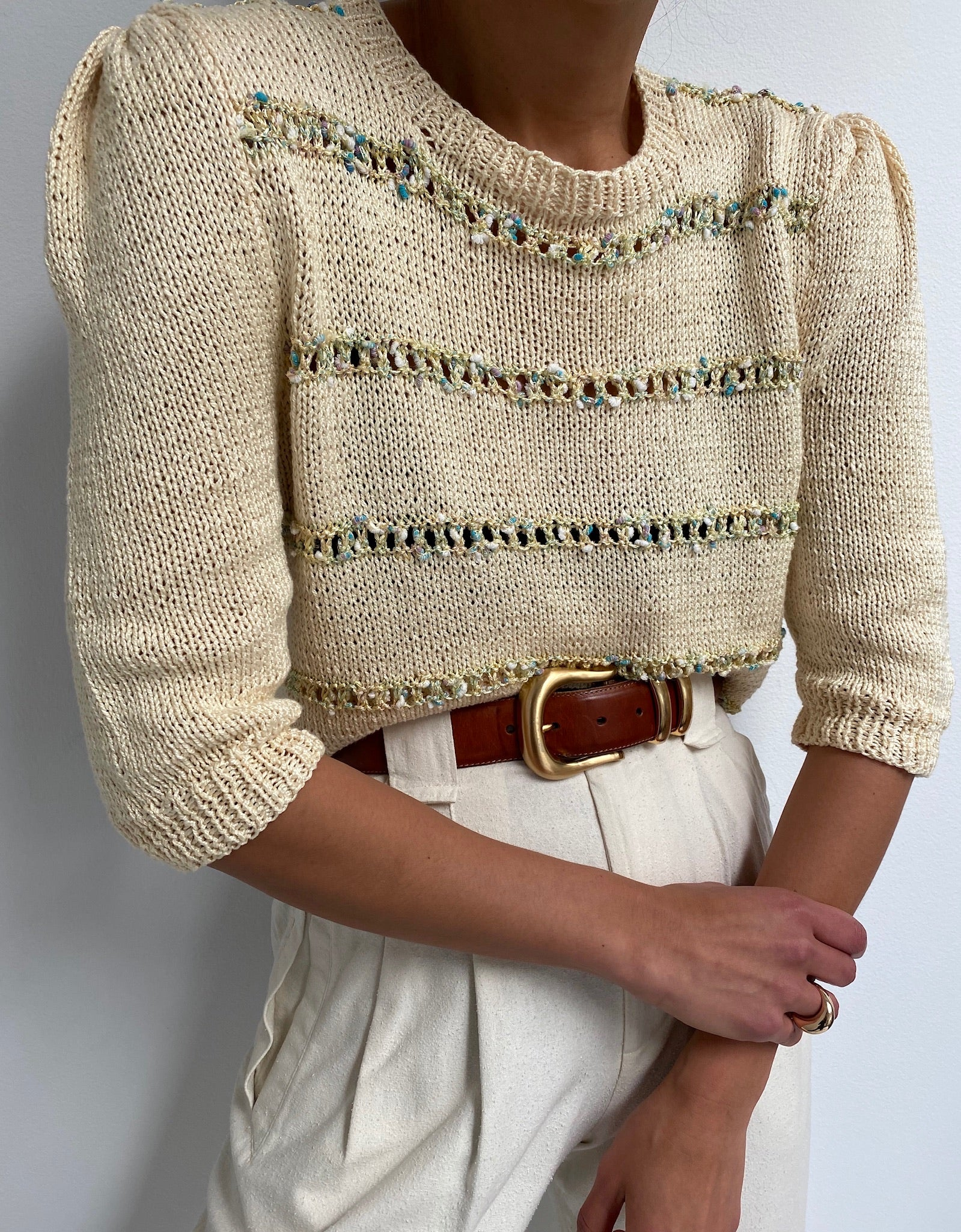 Vintage Multi Colored Eyelet Knit Top