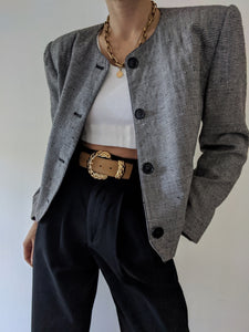 Vintage Micro Houndstooth Cropped Blazer
