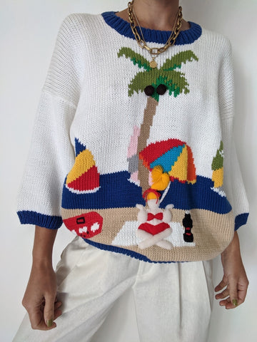 Vintage Beachscape Knit Sweater