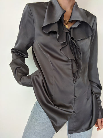 Vintage Charcoal Ruffled Blouse