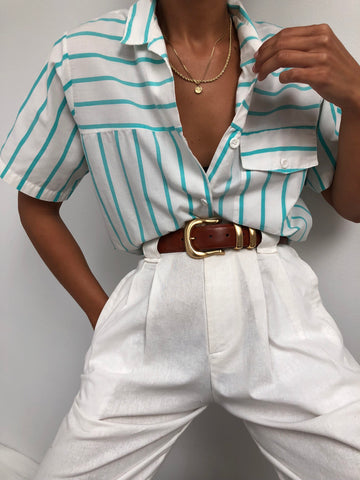 Vintage Aqua Striped Short Sleeve