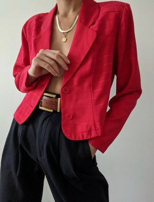 Vintage Raspberry Striped Crop Blazer