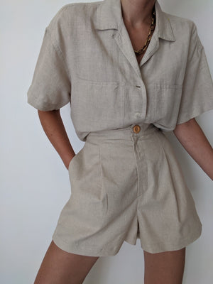 Na Nin Oliver Linen Cotton Shorts / Available in Stone & Wheat