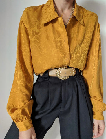 Vintage Mustard Silk Patterned Blouse