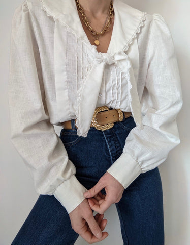 Vintage Ivory Pleated Tie Blouse