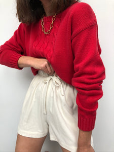 Vintage Tomato Cable Knit Sweater