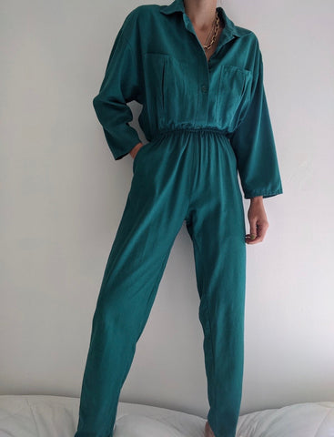 Vintage Jade Raw Silk Jumpsuit