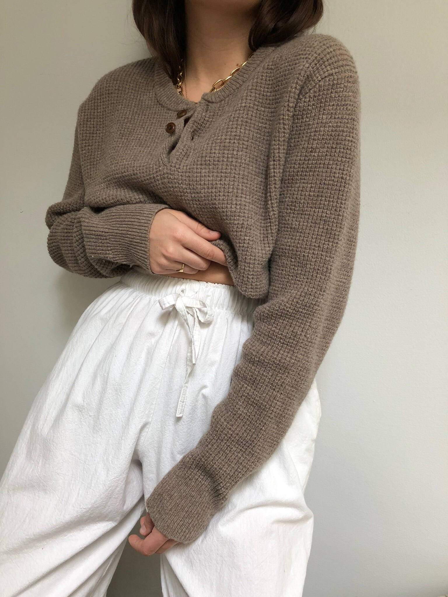 Vintage Taupe Waffled Lambswool Henley
