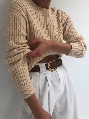 Vintage Sand Cable-Knit Pullover