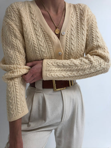Vintage Buttercream Wool Cardigan