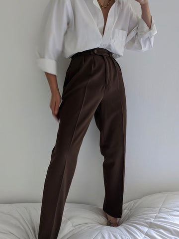 Vintage Cocoa High Waist Wool Trousers