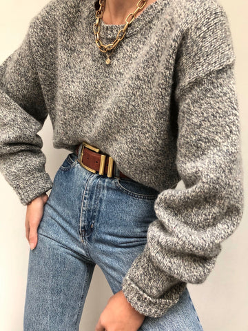 Vintage Heathered Wool Knit Pullover