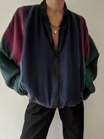 Vintage Faded Silk Color Block Bomber Jacket