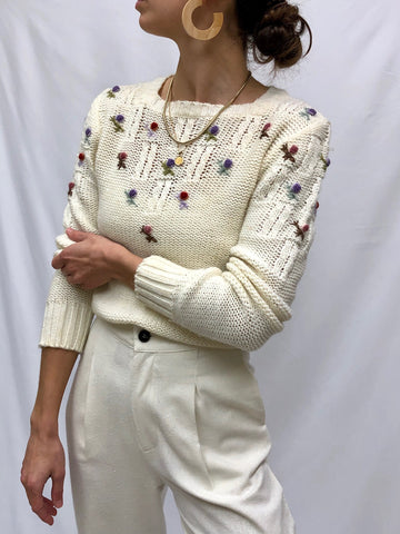 Vintage Cream Floral Knit sweater