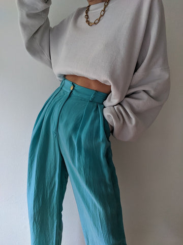 Vintage Aqua Pleated Trousers