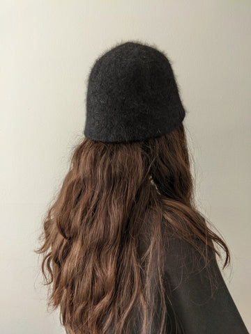 Vintage Black Angora Bucket Hat