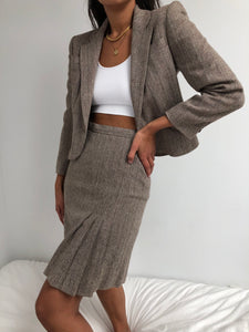 Vintage Tweed Cropped Blazer Skirt Set