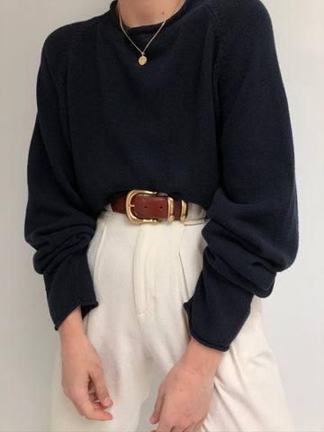 Vintage Navy Linen Rolled Neck Knit