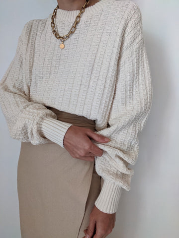 Vintage Cream Patterned Knit Pullover