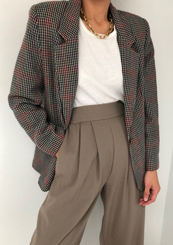 Vintage Plaid Multi-Colored Wool Blazer