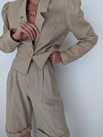 Vintage Striped Short Suit
