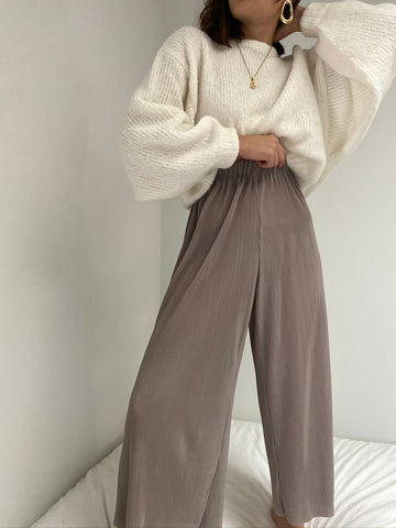Vintage Taupe Pleated Easy Pants