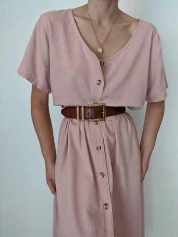 Vintage Dusty Rose Raw Silk Dress