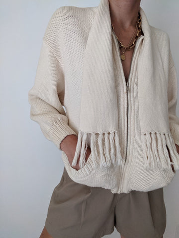 Vintage Cream Zip-Up Tassle Knit Sweater