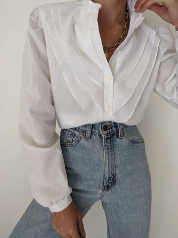 Vintage Thin Eggshell Pleated Blouse