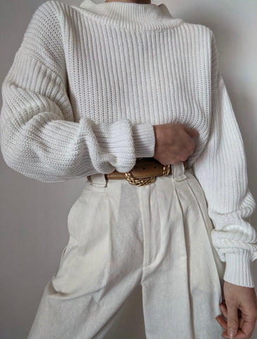Vintage Snow Ribbed Knit