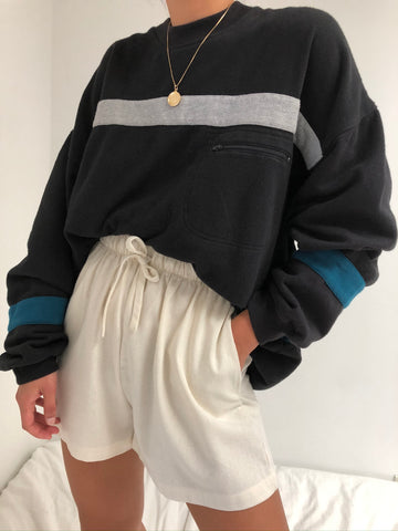 Vintage Onyx Wide Striped Sweatshirt