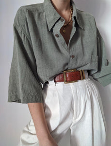 Vintage Sage Woven Silk Button Up