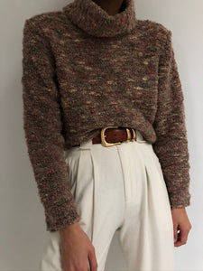 Vintage Mohair and Wool Textured Knit Turtleneck