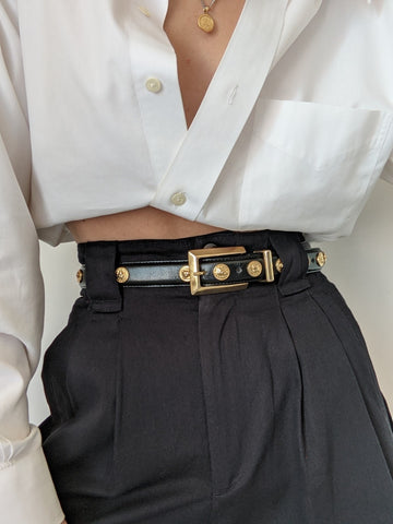 Vintage Black Leather & Gold Lion Belt