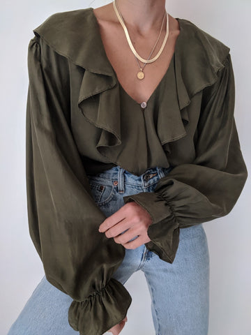 Vintage Olive Ruffle Silk Blouse