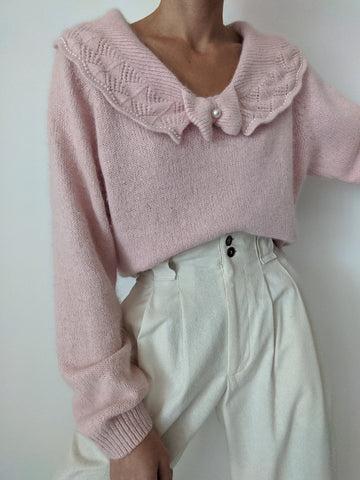 Vintage Silk & Angora Bow Collared Sweater