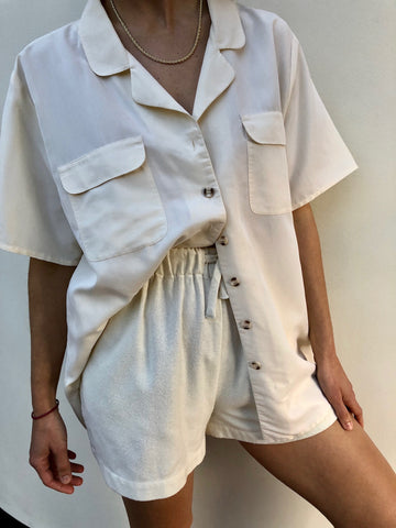Vintage Cream Button Up Blouse