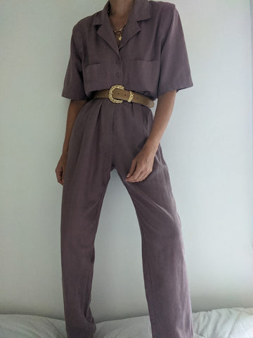 Vintage Mauve Raw Silk Jumpsuit