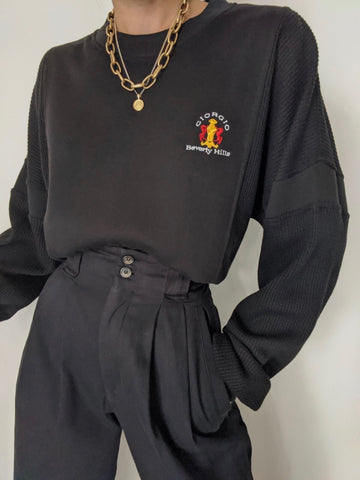 Vintage Onyx Giorgio Beverly Hills Waffled Pullover