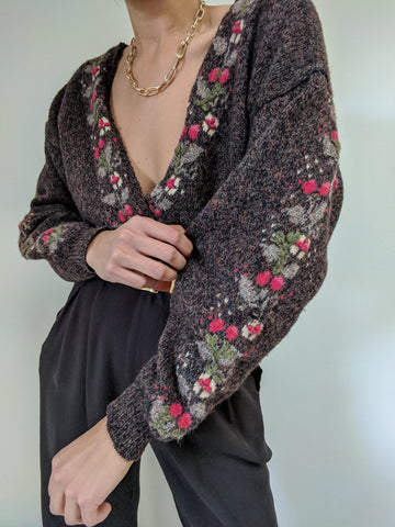 Vintage Floral Embroidered Wool Cardigan