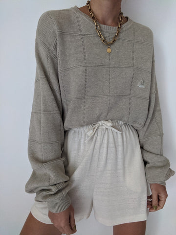90s Taupe Windowpane Knit Sweater